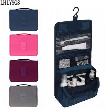 LHLYSGS Brand Women Travel Cosmetics Organizer Cosmetic Bag Men Large Necessity Waterproof Nylon Make Up Case Wash Toiletry Bag