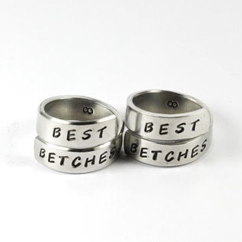 Best Betches Wrap Pair Rings, Best Friend Personalized Match Rings, BFF Hand Stamped Aluminum Ring, Besties Friendship Forever Jewelry