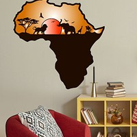 "Wall Decals African Safari Full Color Murals Animals Jungle Colorful African Map Vinyl Decal Sticker Nursery Bedroom Removable Decor EN28 (17"" Tall x 17"" Wide)"