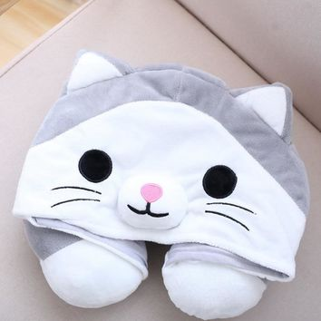 Cute Cartoon Animal Cat U Shape Hoodie Pillow Travel Hooded Pillow Neck Support Rest Cushion with Hat for Sleep Outdoor Airplane