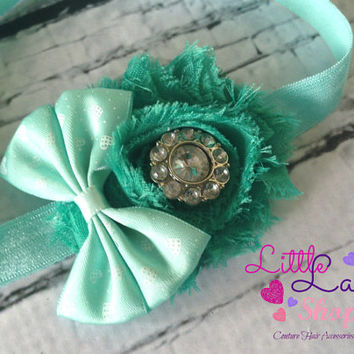 Mint Bow Shabby Chic Baby Headband Infant Headband, newborn baby girl hair band photography props - Canada