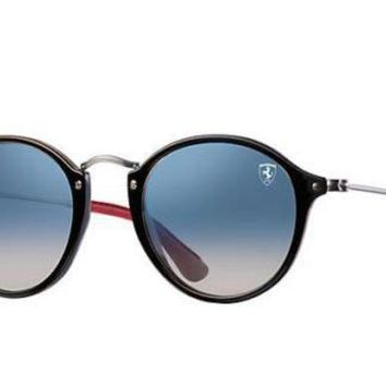 Kalete NEW Genuine RAY-BAN SCUDERIA FERRARI Black Silver Sunglasses RB 2447-NM F601/3F