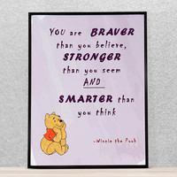 Winnie the Pooh quote print, Disney movie quote, nursery wall art decor