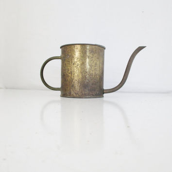Vintage Brass Watering Can Brass Mid Century Planter FTDA Watering Can Holland Vintage Brass  Pitcher Rustic Flower Pot Garden Decor Cottage