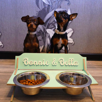 Small personalized custom dog cat elevated pet feeding bowl stand feeder holder 2 2/3'' high 15 oz bowls