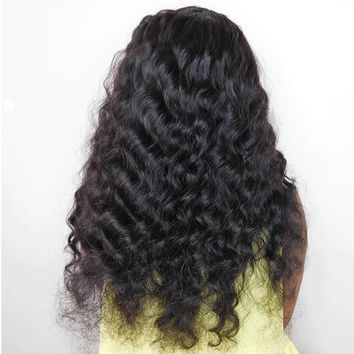 Wavy Pre Plucked Lace Front Brazilian Remy Human Hair Wigs Bleached Knots