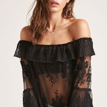 Sheer Lace Off-the-Shoulder Top