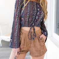 Multicolor Off Shoulder Tribal Blouse
