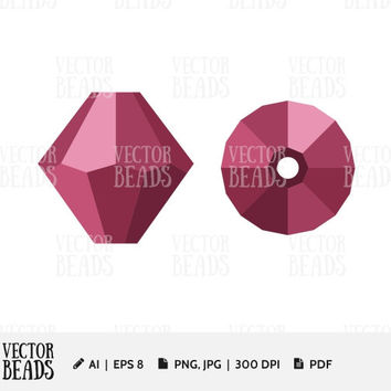 Simple vector illustration of Swarovski Bicone 5301. Bead Vector Graphic - Ai, Eps, Pdf, Jpg, Png