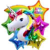 unicorn party birthday party decorations kids inflatable toys 6 pieces foil balloons unicorn party supplies helium balloons