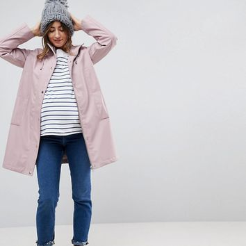 ASOS MATERNITY Premium Borg Raincoat at asos.com