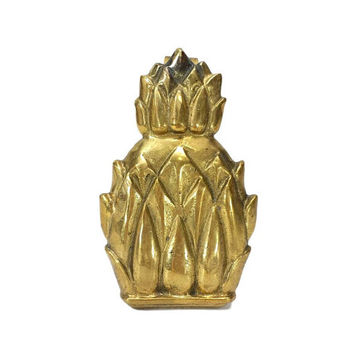 Brass Pineapple Door Knocker Striker Vintage Hardware Decor Antiqued Aged Gold Patina Home Improvement Makeover Hollywood Regency
