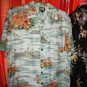 Amazing Vintage Hawaiian Shirt TOMMY BAHAMA Tropical Islands Cotton Blends  Size M  Very Collectible