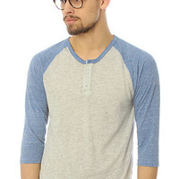 Alternative Apparel The 34 Sleeve Raglan Henley in Oatmeal and Royal : Karmaloop.com - Global Concrete Culture