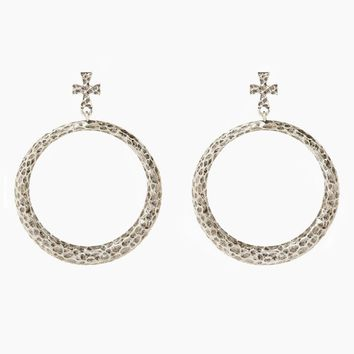 The Hammered Cross Hoops - Silver
