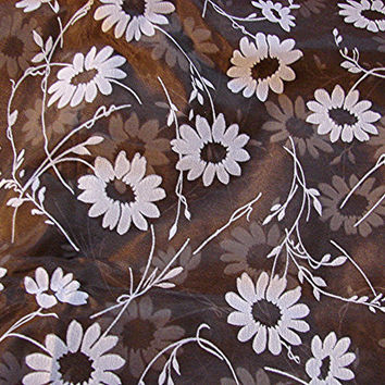 Vintage 1970s Organza Fabric Brown Flocked White Daisies Floral Fabric Chocolate Brown