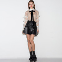 White See Though Ruffled Long-Sleeve Bow-Tie Shirt