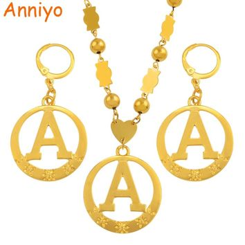 Anniyo A-Z 60CM Beads Letters Necklaces Gold Color Marshall Initial Alphabet Ball Chain Micronesia Jewelry #128006