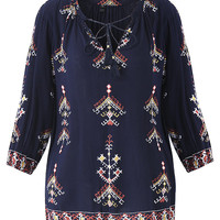 Bohemian Women Long Sleeve Embroidery Loose Shirts