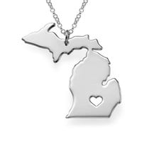 I Heart Michigan Necklace Michigan Map Pendant State Necklace Best Friend Necklace