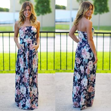 2017 Women Summer Off Shoulder Boho print Dress with pockets fit and flare Long Maxi Praty dress strapless empire Plus Size