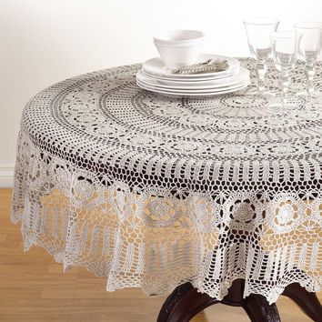Aberdeen Round Crochet Tablecloth