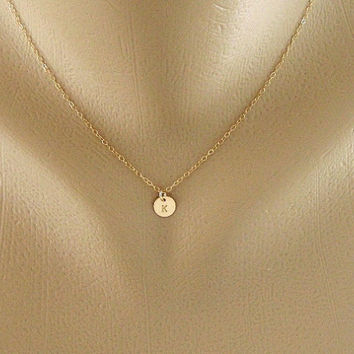 Custom Initial Monogram GOLD Fill Necklace Tiny by hotmixcold on etsy