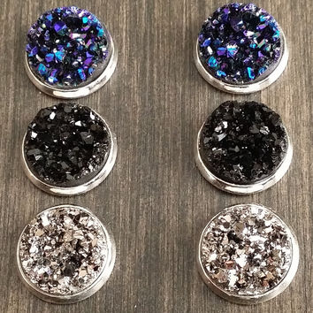 Druzy earring set- Punk drusy stud set - druzy earrings