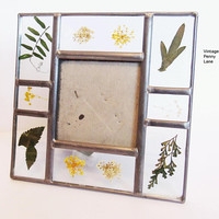 Vintage Handmade Picture Frame, Pressed Flower and Leaves / Glass, Square