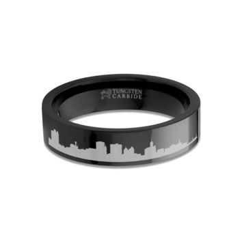 Buffalo City Skyline Cityscape Engraved Black Tungsten Ring