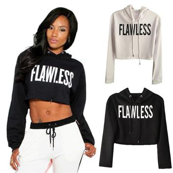 Women FLAWLESS Crop Hoodie Sweatshirt Jumper  Pullover Tops Coat