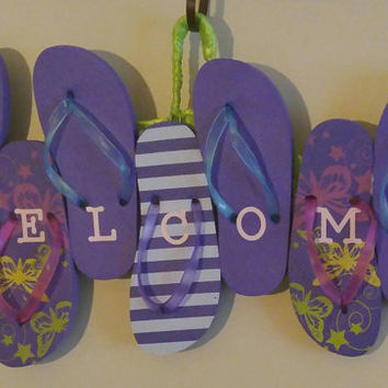 Flip flop welcome sign-flip flop wreath-summer wreath-beach wreath
