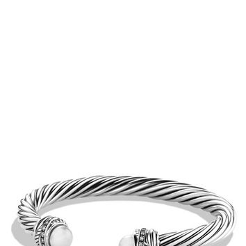 Women's David Yurman 'Cable Classics - Crossover' Bracelet with Pearls and Diamonds - Grey Pearl