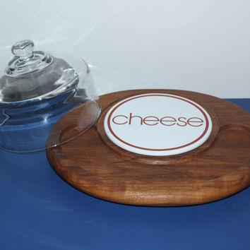 "Goodwood round ""cheese"" teak cheese dome cloche serving platter, cheese board, wood platter"
