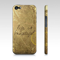 Life I Beautiful iphone case- Samsung case- photography- nature-yellow and brown- inspiring quote- typography