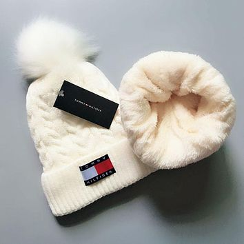 Tommy Hilfiger Autumn Winter New Warm Knit And Pom Hat Cap White
