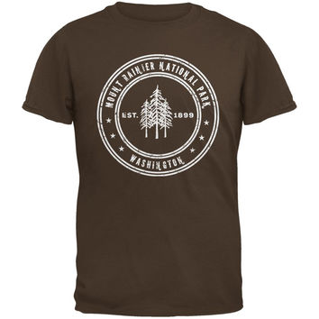 Mount Rainier National Park Brown Adult T-Shirt