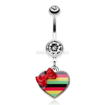 Rasta Stripe Red Bow Heart Belly Ring (Clear)