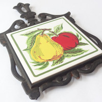 trivet hot plate Cast iron ceramic fruit vintage wall hanging