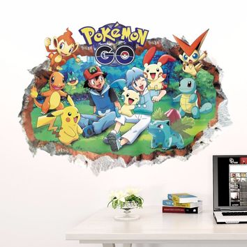 Home Decoration 3D Wall Sticker Cartoon Animation  For Kid's Room Bedroom Mural Art Removable Decals Adesivo De ParedeKawaii Pokemon go  AT_89_9