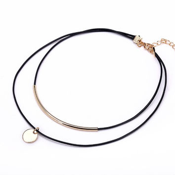 Black Velvet Leather Choker Gold Color Coin Pendant