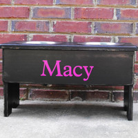 Personalized Large Raised Dog Bowl Shabby Stand -10'' Tall - Two 2 Quart Bowls