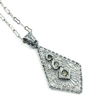 Art Deco Necklace, Silver Filigree Pendant Necklace, Rhodium Plated, Paper Clip Chain, 1920s, Antique