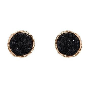 CREYV2S Humble Chic Round Simulated Druzy Studs - Sparkly Bezel Set Circle Post Earrings