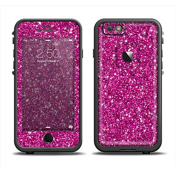 The Bright Pink Glitter Apple iPhone 6 LifeProof Fre Case Skin Set