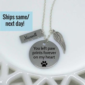 Pet Memorial Necklace, Pet's Name, Paw Print, Dog Lover Necklace, Pet Loss, Pet Loss Jewelry, Pet Memorial Jewelry, Loss of Pet, Loss of Dog