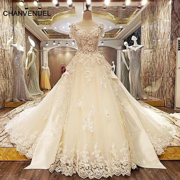 LS33227 luxury wedding gown crystal long train lace ball gown corset back robe de mariage ivory and champagne real photos