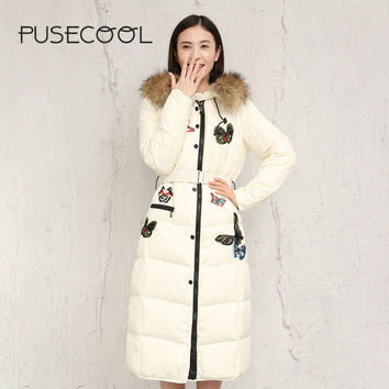 PUSECOOL 2017 New Fashion Butterfly Patch Women Long Parkas with Real Raccoon Fur Warm Winter Jacket Lady Coat Casual Outerwear