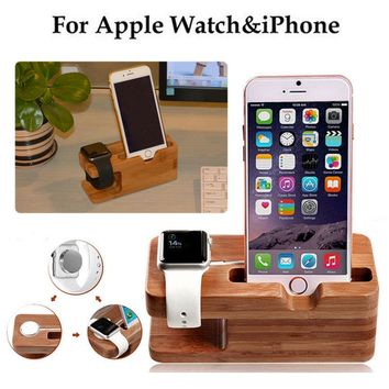Wood Charging Dock Station Stand Holder for iPhone SE/6/6s/8 Plus & Apple Watch
