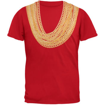 Gold Chains Red Adult T-Shirt